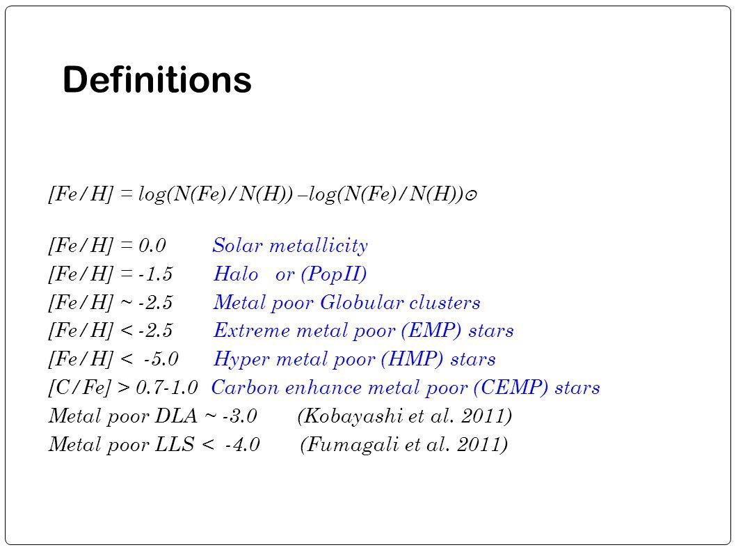 Definitions [Fe/H] = log(N(Fe)/N(H)) –log(N(Fe)/N(H)) ʘ [Fe/H] = 0.0 Solar metallicity [Fe/H] = -1.5 Halo or (PopII)  [Fe/H] ~ -2.5 Metal poor Globul