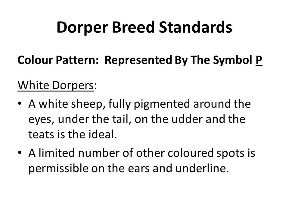 Dorper Breed Standards Colour Pattern: Represented By The Symbol P White Dorpers: A white sheep, fully pigmented around the eyes, under the tail, on t