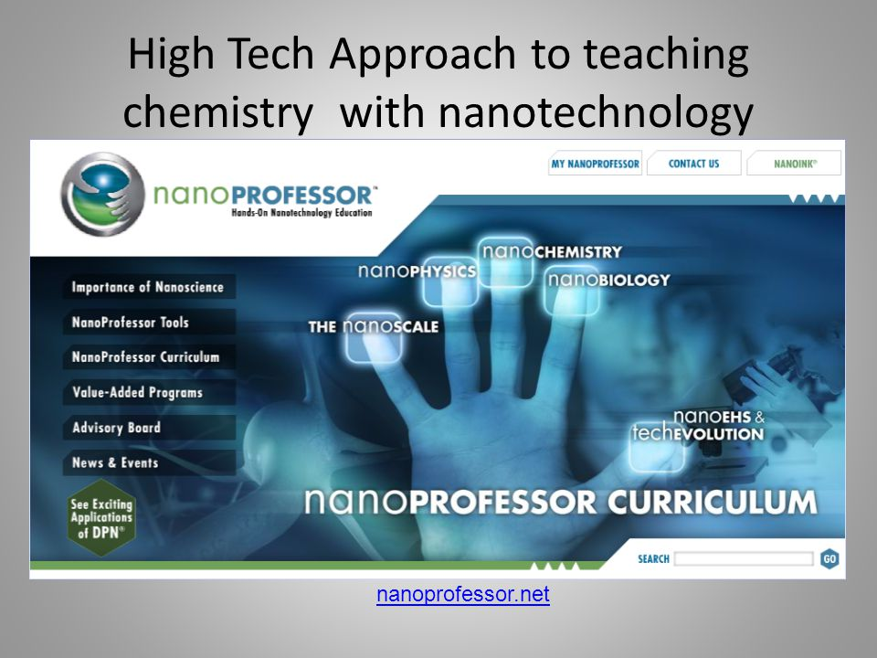 nanoprofessor.net High Tech Approach to teaching chemistry with nanotechnology