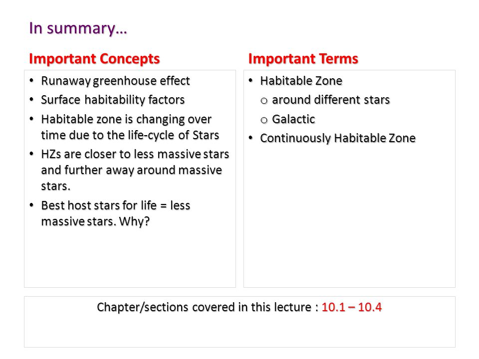 In summary… Important Concepts Runaway greenhouse effect Surface habitability factors Habitable zone is changing over time due to the life-cycle of Stars HZs are closer to less massive stars and further away around massive stars.