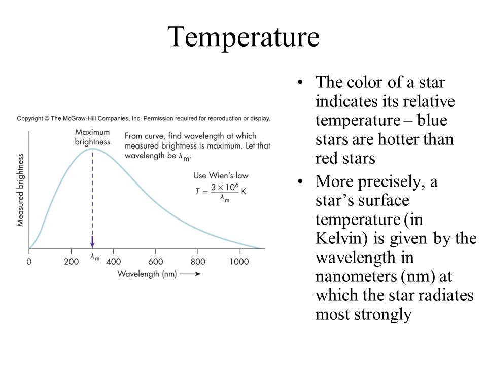 Temperature The color of a star indicates its relative temperature – blue stars are hotter than red stars More precisely, a star's surface temperature