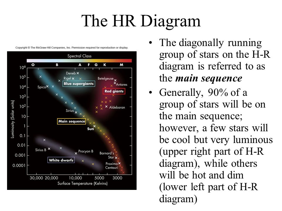 The HR Diagram The diagonally running group of stars on the H-R diagram is referred to as the main sequence Generally, 90% of a group of stars will be