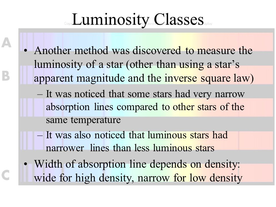 Luminosity Classes Another method was discovered to measure the luminosity of a star (other than using a star's apparent magnitude and the inverse squ
