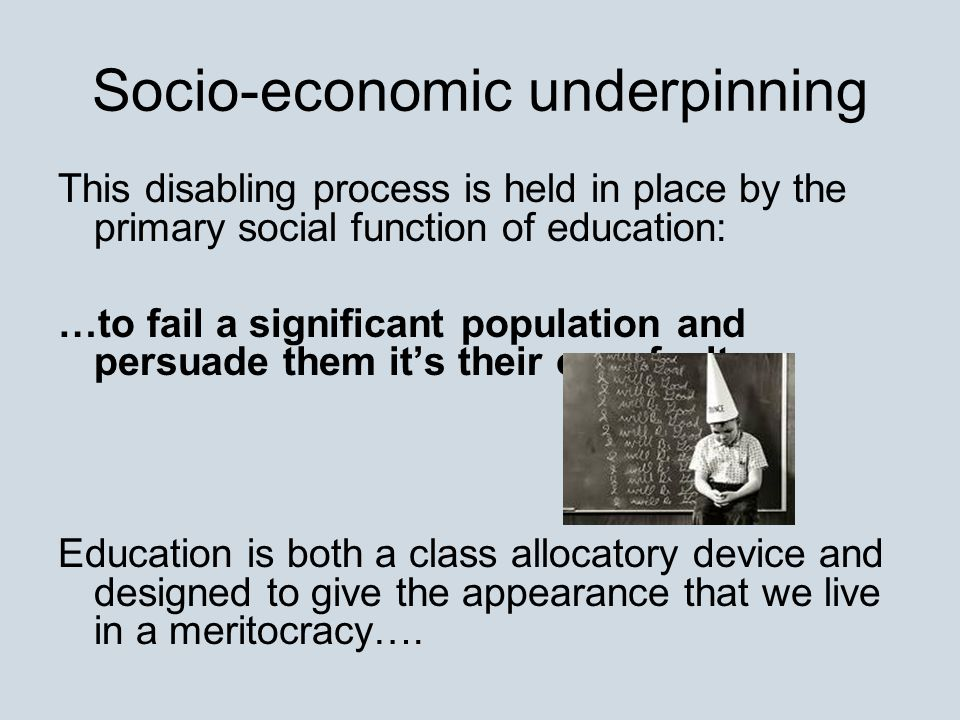 Socio-economic underpinning This disabling process is held in place by the primary social function of education: …to fail a significant population and persuade them it's their own fault.