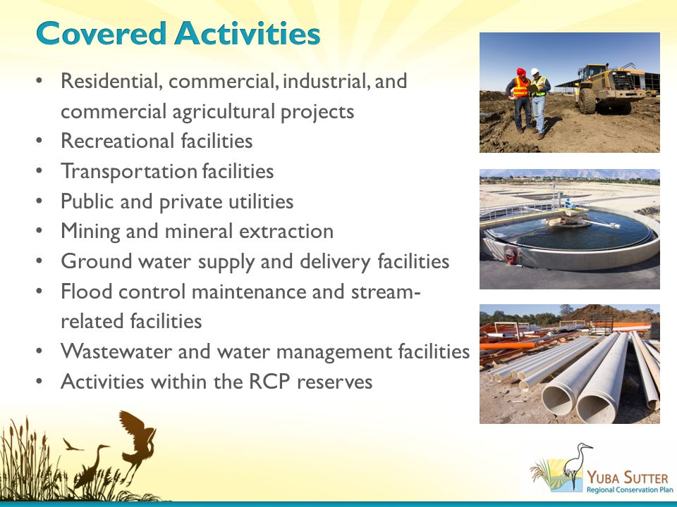 Residential, commercial, industrial, and commercial agricultural projects Recreational facilities Transportation facilities Public and private utilities Mining and mineral extraction Ground water supply and delivery facilities Flood control maintenance and stream- related facilities Wastewater and water management facilities Activities within the RCP reserves