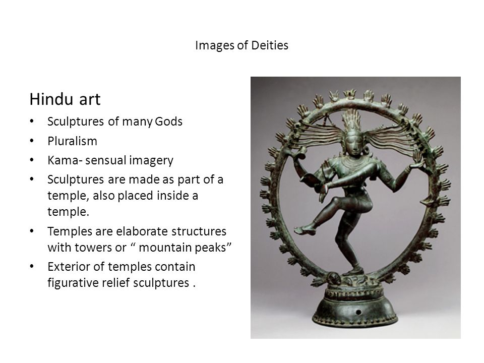 Images of Deities Hindu art Sculptures of many Gods Pluralism Kama- sensual imagery Sculptures are made as part of a temple, also placed inside a temp