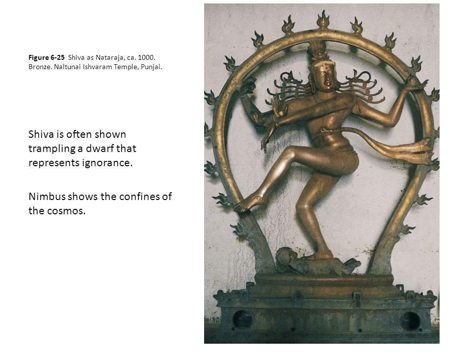 Figure 6-25 Shiva as Nataraja, ca. 1000. Bronze. Naltunai Ishvaram Temple, Punjai. Shiva is often shown trampling a dwarf that represents ignorance. N