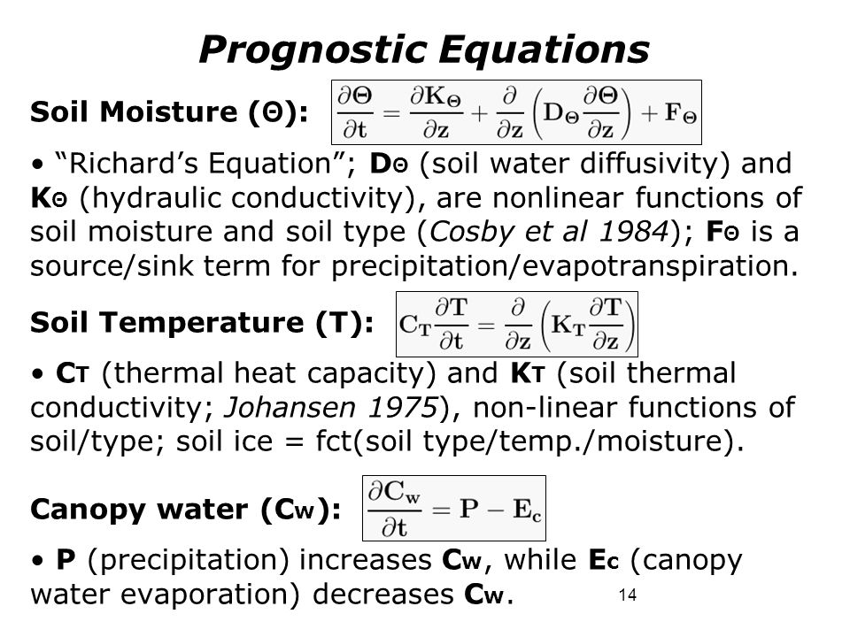 """14 Soil Moisture ( Θ ): """"Richard's Equation""""; D Θ (soil water diffusivity) and K Θ (hydraulic conductivity), are nonlinear functions of soil moisture"""