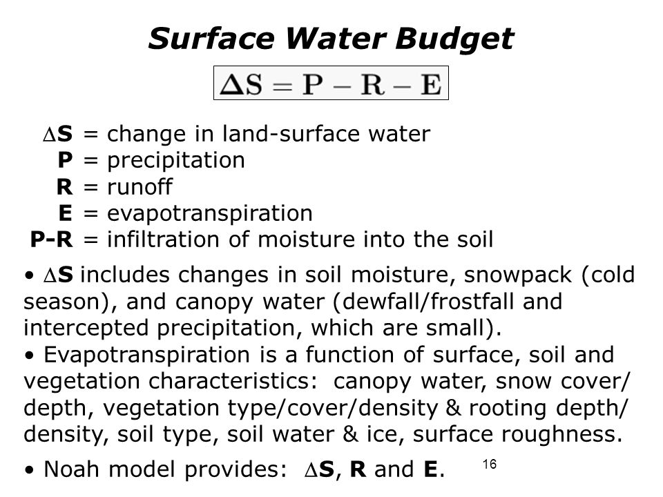 16 Surface Water Budget S=change in land-surface water P=precipitation R=runoff E=evapotranspiration P-R=infiltration of moisture into the soil S in