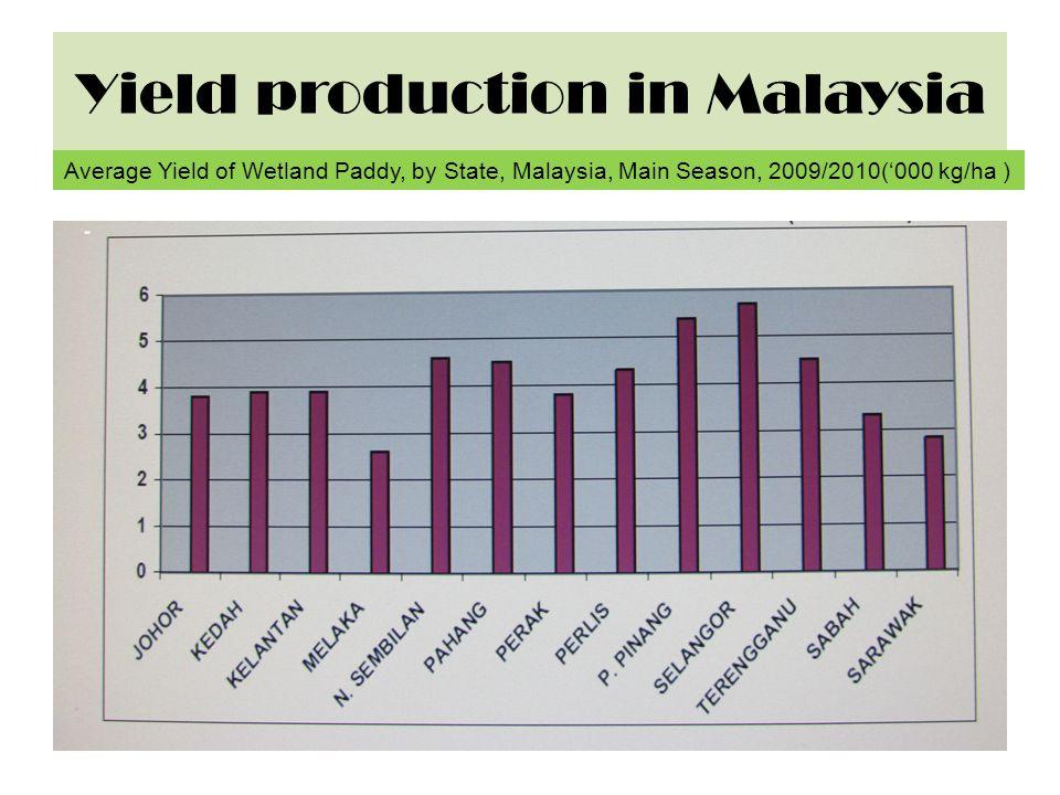 Yield production in Malaysia Average Yield of Wetland Paddy, by State, Malaysia, Main Season, 2009/2010('000 kg/ha )