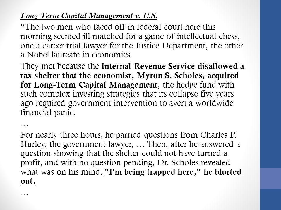 Long Term Capital Management v.U.S.