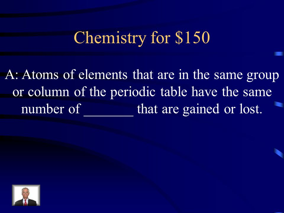 A: Atoms of elements that are in the same group or column of the periodic table have the same number of _______ that are gained or lost.