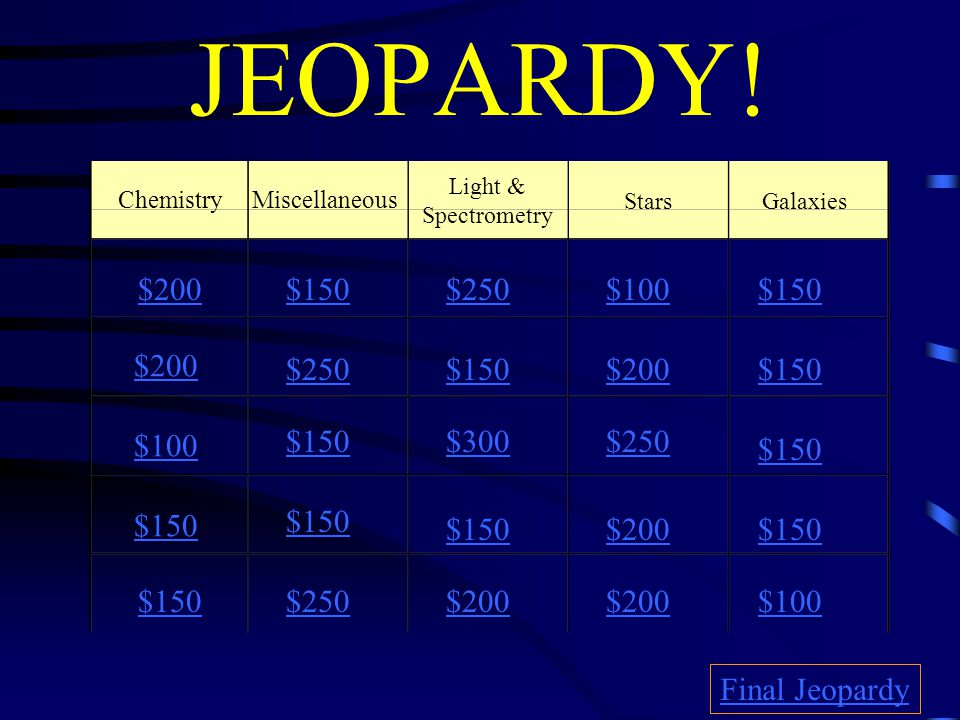 JEOPARDY! $200 $100 $150 $100$250$150 $250$150$200$150 $300$250 $150 $200$150 $250$200 $100 Final Jeopardy Chemistry Galaxies Miscellaneous Light & Sp
