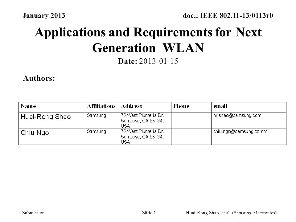doc.: IEEE 802.11-13/0113r0 Submission Motivation In the past few 802.11 WNG meetings, several topics were proposed for next generation WLAN –Carrier-operated Wi-Fi –6-10 GHz Wi-Fi, etc.