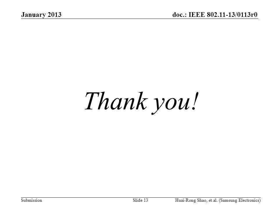 doc.: IEEE 802.11-13/0113r0 Submission Thank you. January 2013 Huai-Rong Shao, et.al.