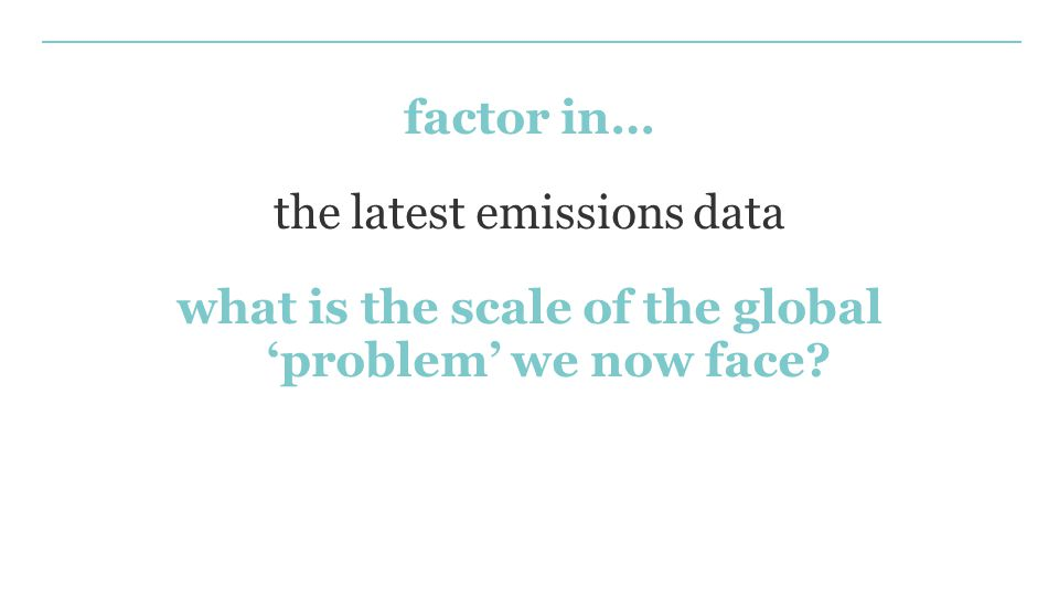 factor in… the latest emissions data what is the scale of the global 'problem' we now face?