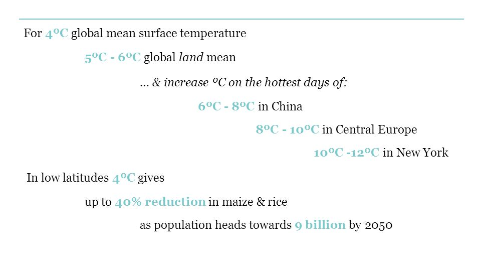 For 4ºC global mean surface temperature 5ºC - 6ºC global land mean … & increase ºC on the hottest days of: 6ºC - 8ºC in China 8ºC - 10ºC in Central Europe 10ºC -12ºC in New York In low latitudes 4ºC gives up to 40% reduction in maize & rice as population heads towards 9 billion by 2050