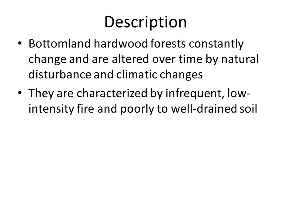 Description Bottomland hardwood forests constantly change and are altered over time by natural disturbance and climatic changes They are characterized by infrequent, low- intensity fire and poorly to well-drained soil