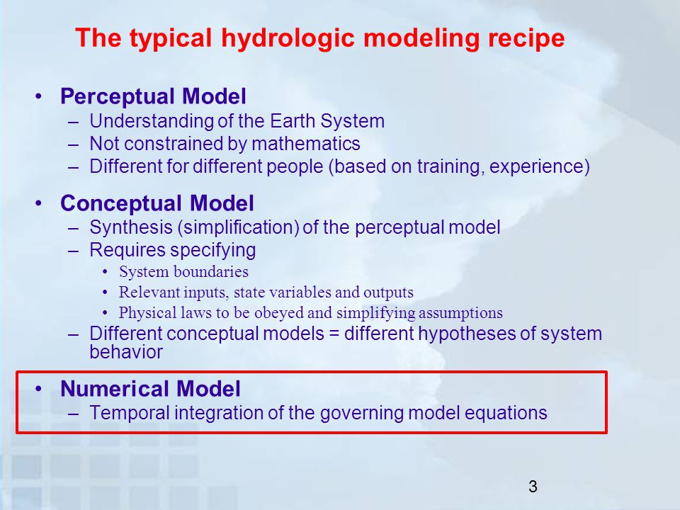 Outline Numerical methods for bucket-style hydrologic models –The explicit Euler method –The implicit Euler method –Adaptive sub-stepping –Ad-hoc numerical implementations in hydrologic models Exploring impacts of unreliable numerical implementation –Macro-scale and micro-scale discontinuities in model response surfaces and associated difficulties in model calibration and sensitivity analyses –Computational cost –Fragility of unreliable numerical implementations in predictive mode Summary and outlook