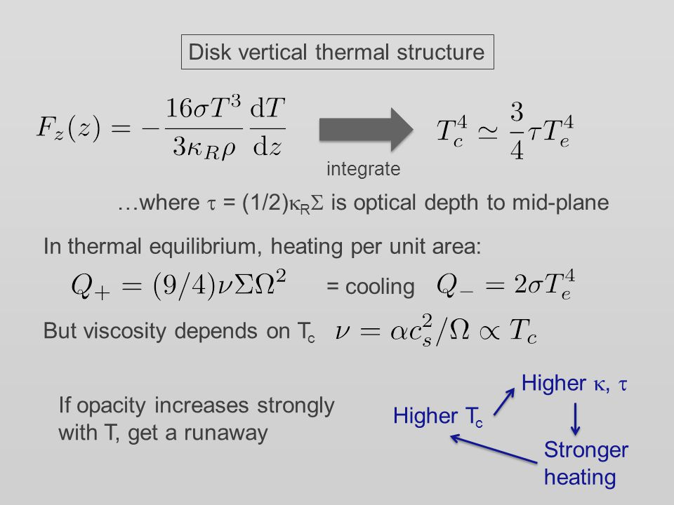 Formally Thermal instability Physically, occurs due to sharp rise in opacity when hydrogen is ionized Bell & Lin '94