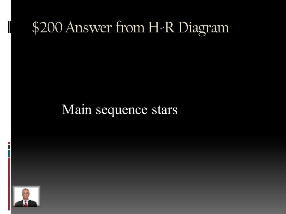 $200 Question from H-R Diagram 90% of stars occupy this region in the HR diagram