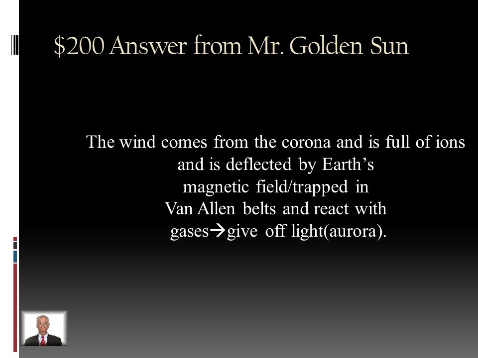 $200 Question from Mr. Golden Sun How does solar wind affect Earth