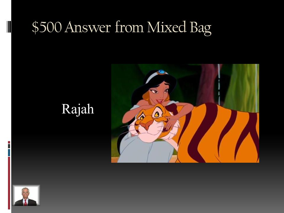 $500 Question from Mixed Bag What is the name of Jasmine's pet tiger in Aladdin