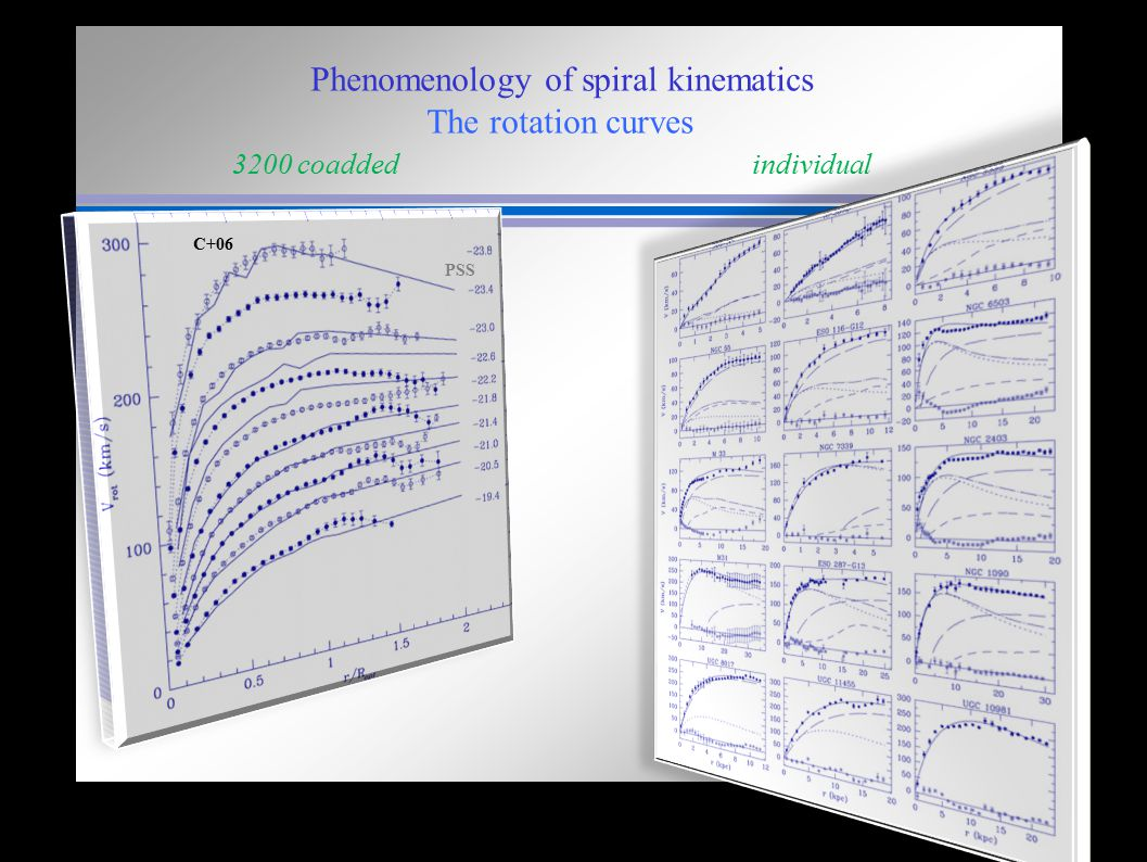 Phenomenology of spiral kinematics The rotation curves 3200 coadded individual PSS C+06