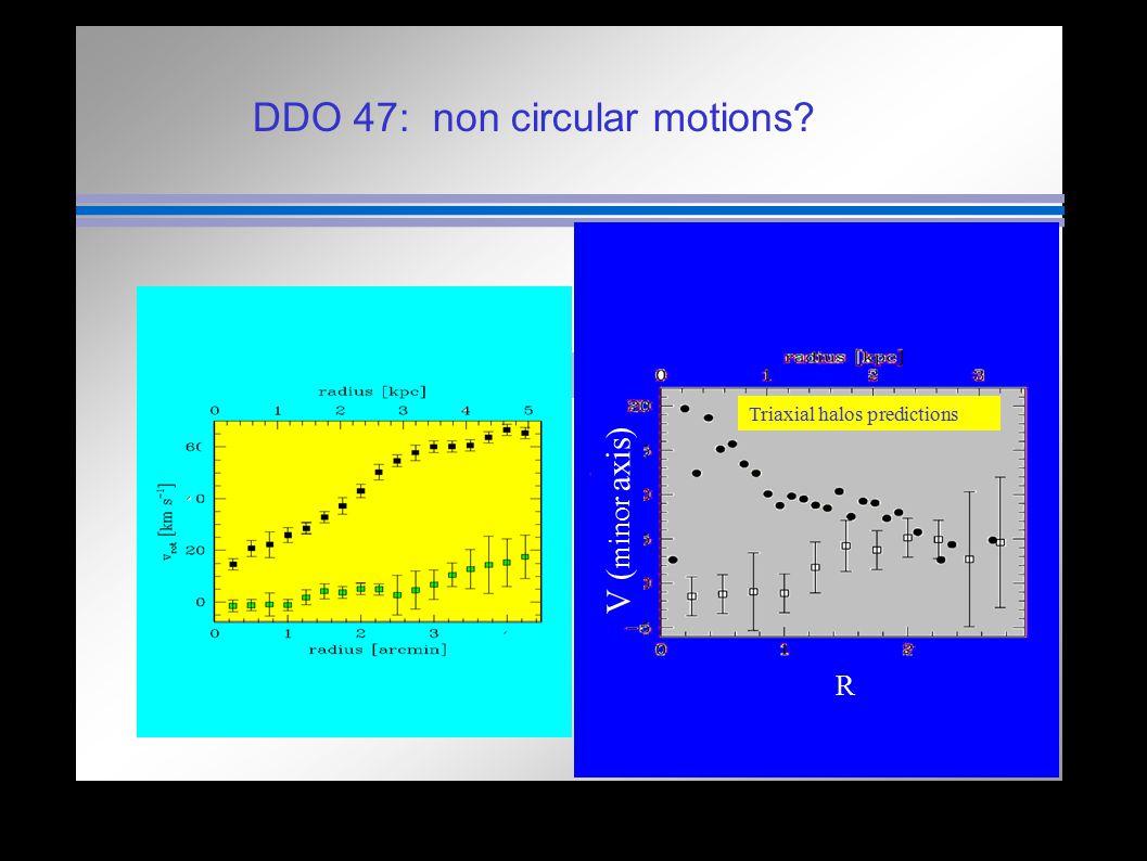 DDO 47: non circular motions? R V ( minor axis) Triaxial halos predictions