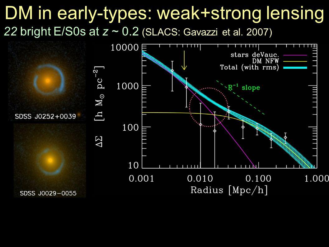 DM in early-types: weak+strong lensing 22 bright E/S0s at z ~ 0.2 (SLACS: Gavazzi et al. 2007)