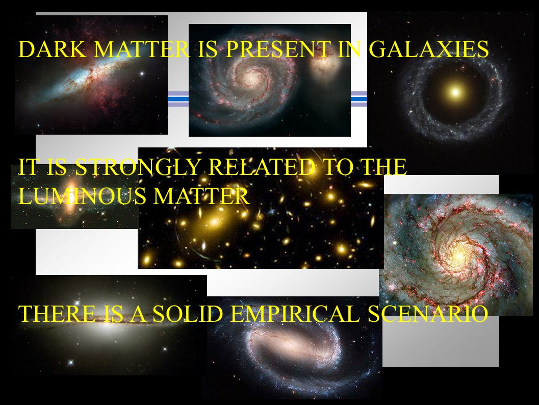 DARK MATTER IS PRESENT IN GALAXIES IT IS STRONGLY RELATED TO THE LUMINOUS MATTER THERE IS A SOLID EMPIRICAL SCENARIO
