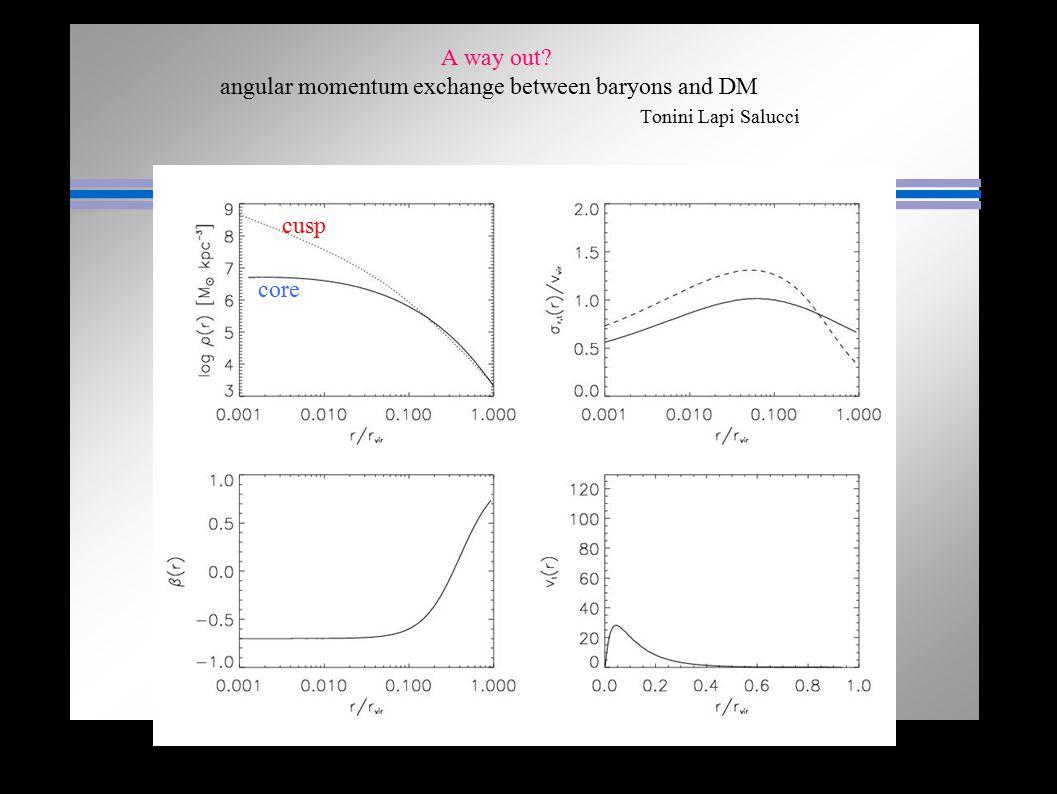 A way out? angular momentum exchange between baryons and DM Tonini Lapi Salucci cusp core