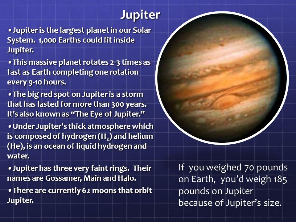 Jupiter Jupiter is the largest planet in our Solar System.