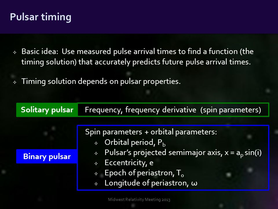  Basic idea: Use measured pulse arrival times to find a function (the timing solution) that accurately predicts future pulse arrival times.