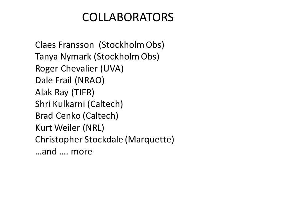COLLABORATORS Claes Fransson (Stockholm Obs) Tanya Nymark (Stockholm Obs) Roger Chevalier (UVA) Dale Frail (NRAO) Alak Ray (TIFR) Shri Kulkarni (Caltech) Brad Cenko (Caltech) Kurt Weiler (NRL) Christopher Stockdale (Marquette) …and ….