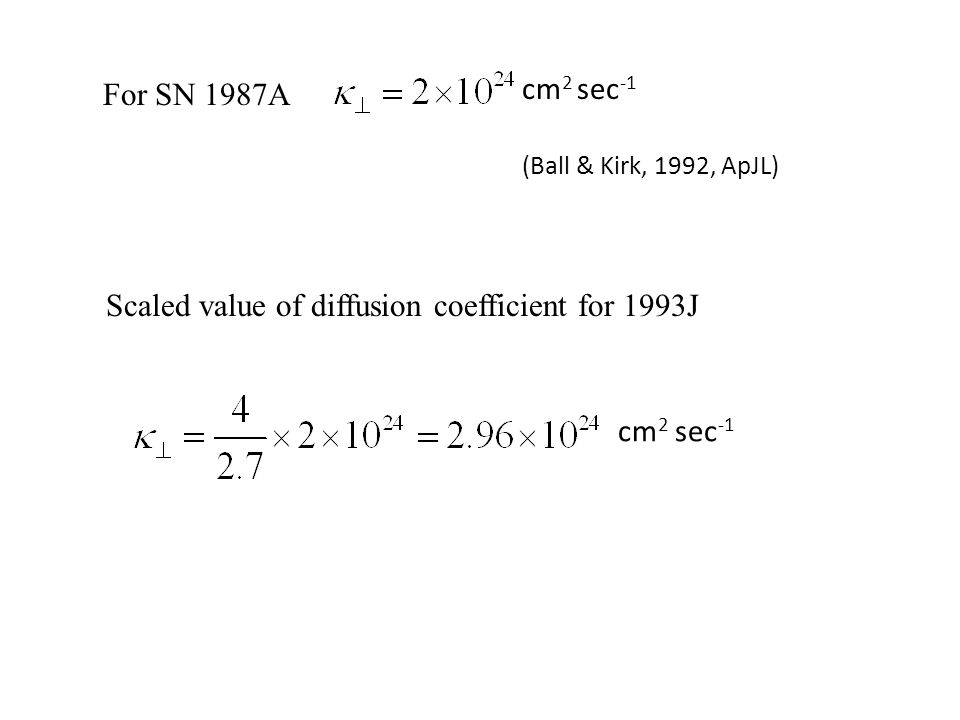 For SN 1987A cm 2 sec -1 Scaled value of diffusion coefficient for 1993J (Ball & Kirk, 1992, ApJL)