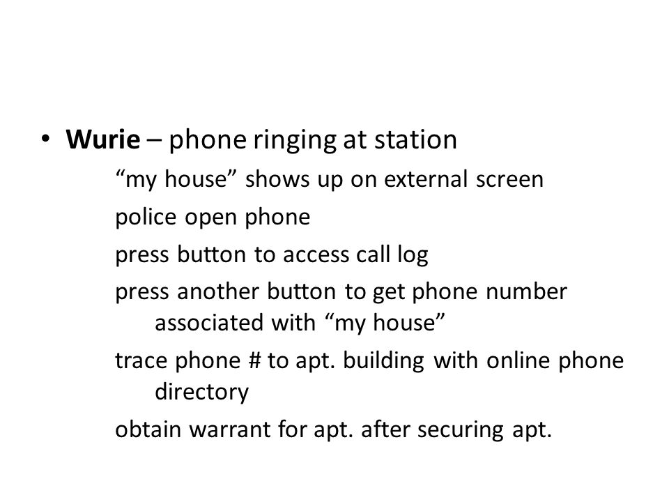 Wurie – phone ringing at station my house shows up on external screen police open phone press button to access call log press another button to get phone number associated with my house trace phone # to apt.
