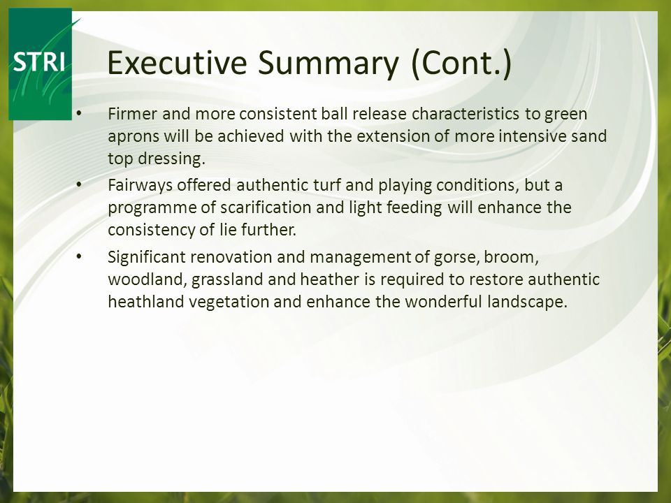 Firmer and more consistent ball release characteristics to green aprons will be achieved with the extension of more intensive sand top dressing.