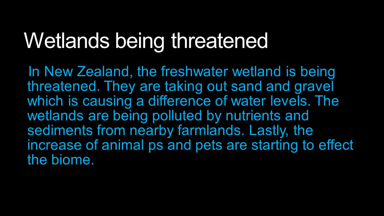 Wetlands being threatened In New Zealand, the freshwater wetland is being threatened. They are taking out sand and gravel which is causing a differenc