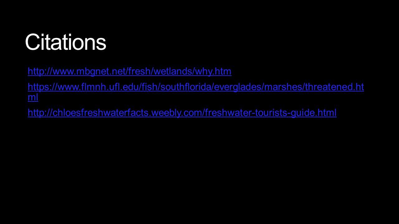 Citations http://www.mbgnet.net/fresh/wetlands/why.htm https://www.flmnh.ufl.edu/fish/southflorida/everglades/marshes/threatened.ht mlhttps://www.flmn