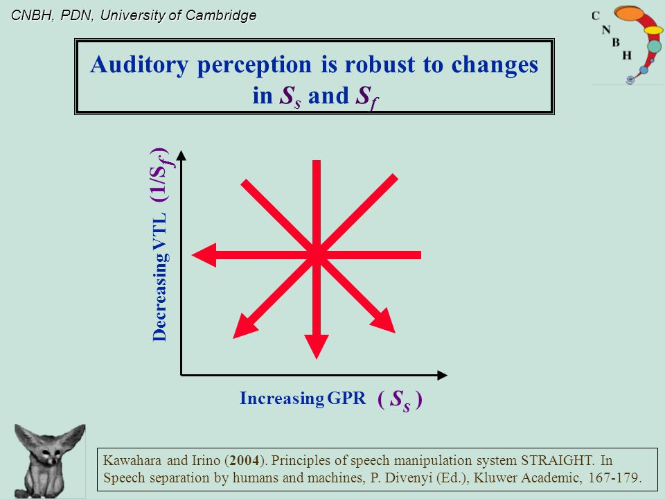 CNBH, PDN, University of Cambridge II: Humans can extract the size information without being confused by the content of the communication III: Auditory perception is amazingly robust to changes in acoustic scale (S s and/or S f ) in communication sounds I: Humans can extract the content of the communication without being confused by the size information Psychophysical experiments confirm: The acoustic scale values in communication sounds tell us which individual, within a population, is speaking or which instrument, within a family, is playing The Perception of Communication Sounds: Summary