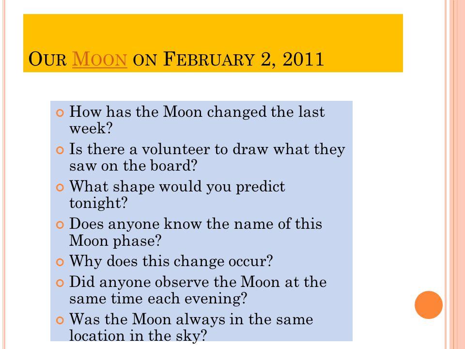 O UR M OON ON F EBRUARY 2, 2011M OON How has the Moon changed the last week.