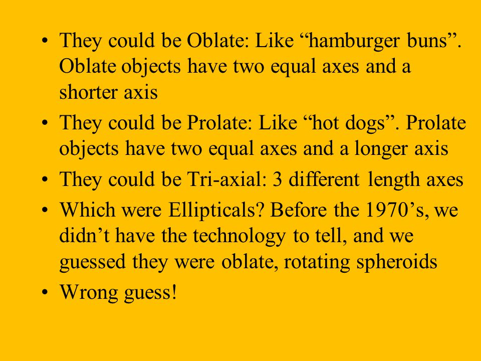 They could be Oblate: Like hamburger buns .