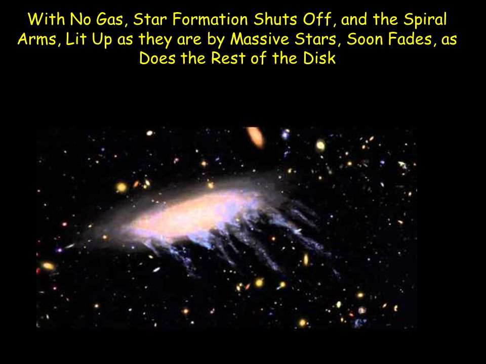 With No Gas, Star Formation Shuts Off, and the Spiral Arms, Lit Up as they are by Massive Stars, Soon Fades, as Does the Rest of the Disk