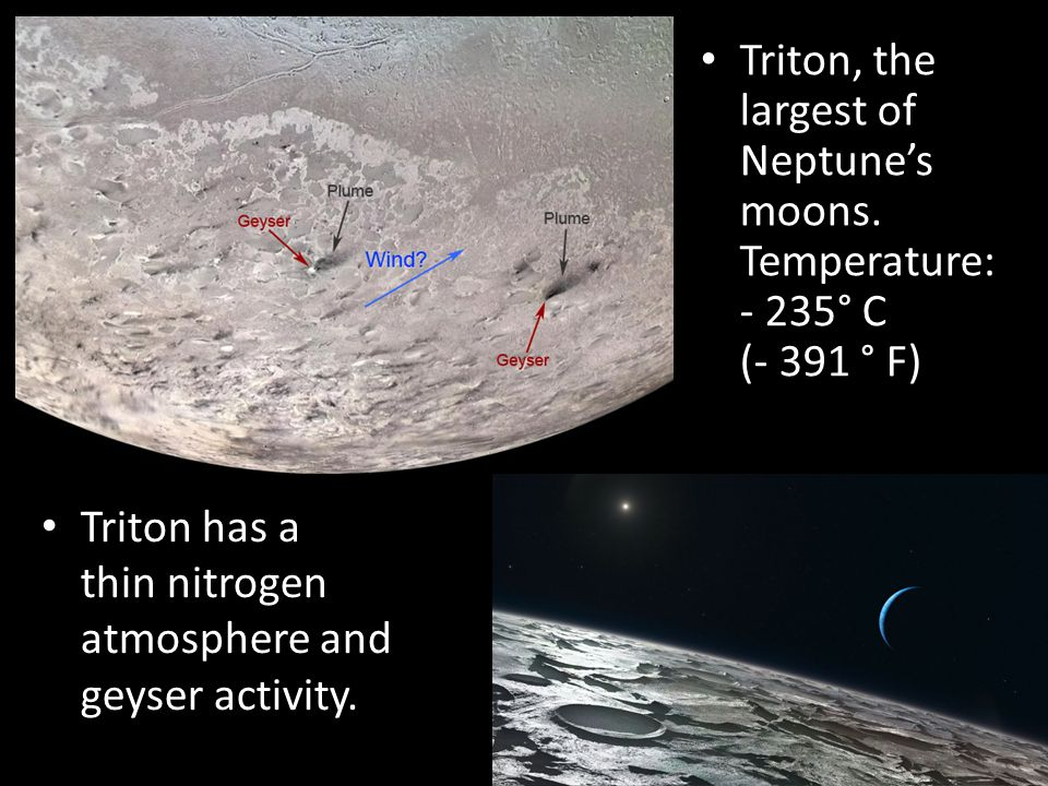 Triton has a thin nitrogen atmosphere and geyser activity.