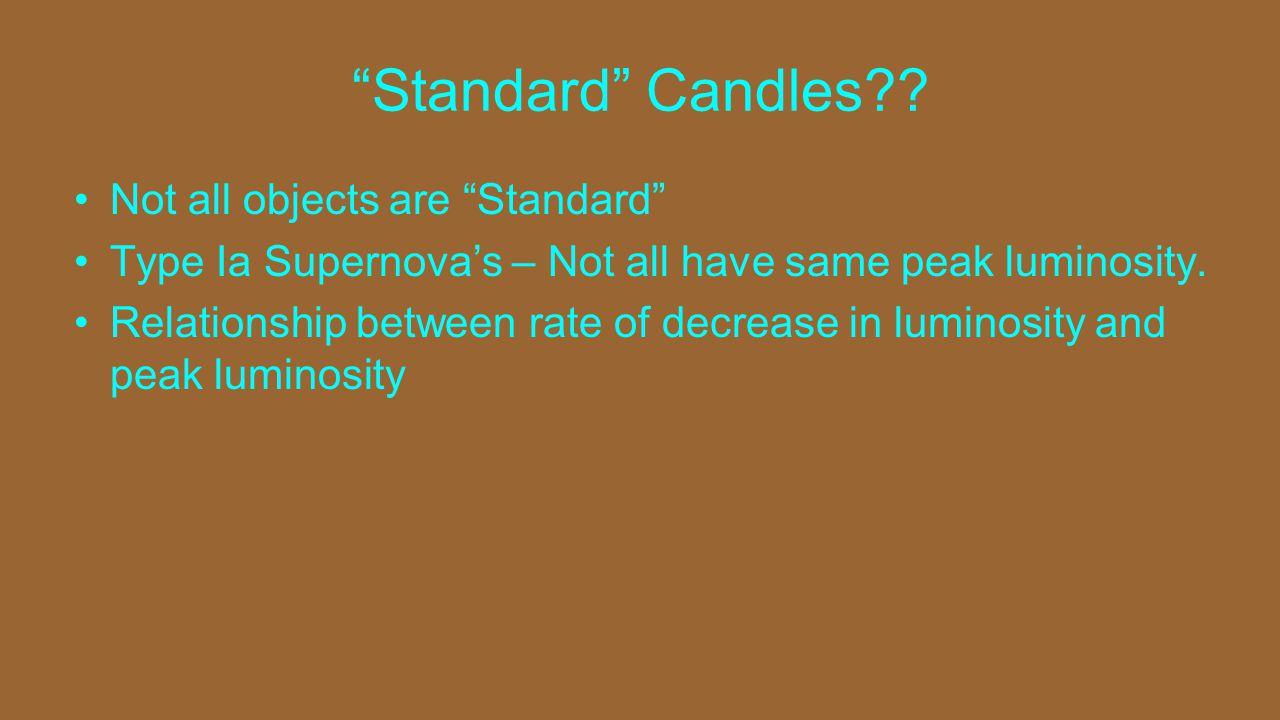 Standard Candles .