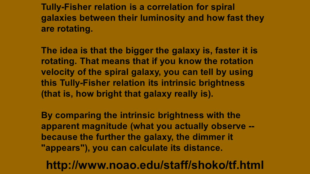 http://www.noao.edu/staff/shoko/tf.html Tully-Fisher relation is a correlation for spiral galaxies between their luminosity and how fast they are rotating.
