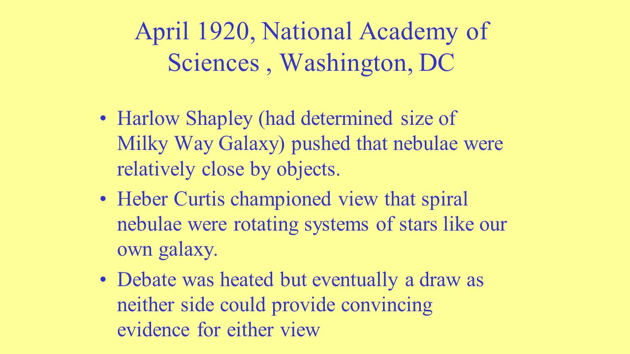 April 1920, National Academy of Sciences, Washington, DC Harlow Shapley (had determined size of Milky Way Galaxy) pushed that nebulae were relatively close by objects.