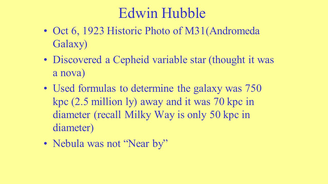 Edwin Hubble Oct 6, 1923 Historic Photo of M31(Andromeda Galaxy) Discovered a Cepheid variable star (thought it was a nova) Used formulas to determine the galaxy was 750 kpc (2.5 million ly) away and it was 70 kpc in diameter (recall Milky Way is only 50 kpc in diameter) Nebula was not Near by