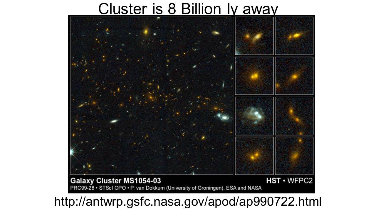 http://antwrp.gsfc.nasa.gov/apod/ap990722.html Cluster is 8 Billion ly away